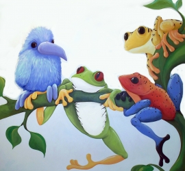 Baby Blue Bird with Three Frogs