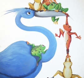 Blue Bird with Frogs
