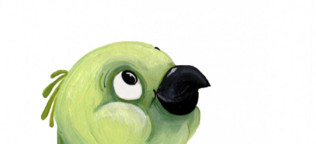 green postcard bird