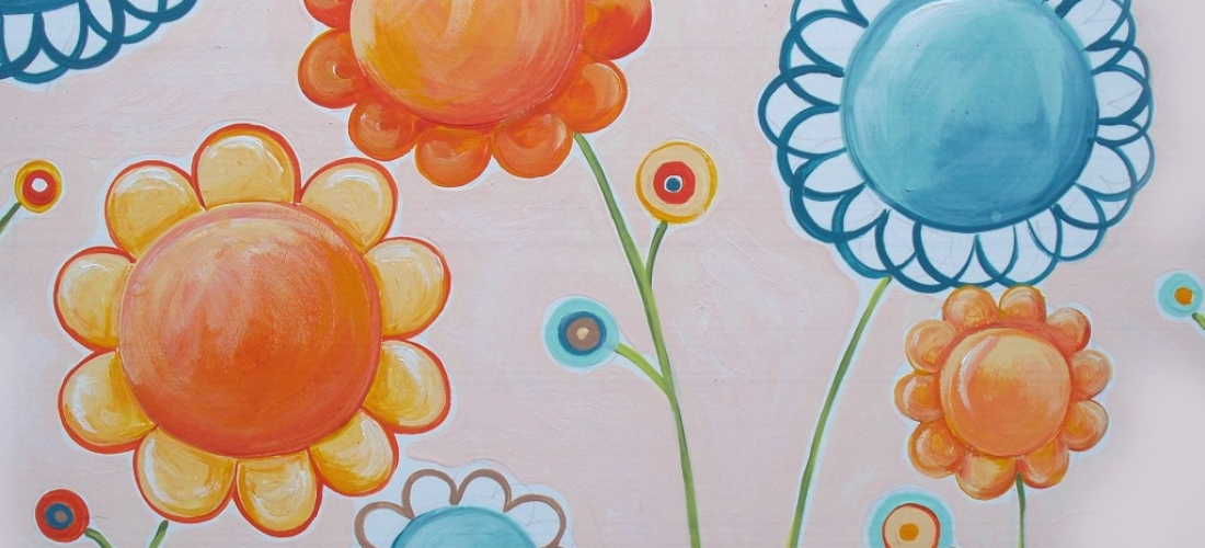 Peach Turquoise Flowers
