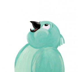 turquoise postcard bird